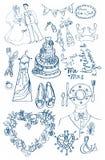 Γαμήλιο σύνολο χαριτωμένων γοητευτικών doodles Στοκ Εικόνες