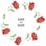 Γαμήλιο floral πλαίσιο με τη διανυσματική απεικόνιση παπαρουνών ελεύθερη απεικόνιση δικαιώματος