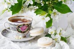 Γαμήλια έννοια με τα λουλούδια Apple-δέντρων με δύο δαχτυλίδια Στοκ Εικόνες