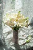 Γαμήλια ανθοδέσμη, άσπρα palustris έλους της Calla, έλος Arum, νερό-AR Στοκ Εικόνα