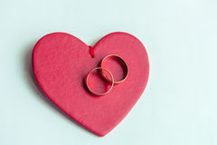 Γαμήλια δαχτυλίδια για τους εραστές στη δέσμευση ή το γάμο στοκ εικόνες
