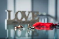 Γαμήλια δαχτυλίδια με τα στηρίγματα του νεόνυμφου Στοκ Εικόνες