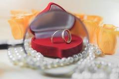 Γαμήλια δαχτυλίδια σε ένα κιβώτιο δώρων κάτω από μια ενίσχυση - γυαλί Στοκ Φωτογραφία