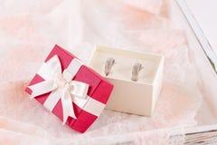 Γαμήλια δαχτυλίδια σε ένα κιβώτιο δώρων Στοκ Φωτογραφία