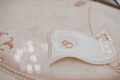 Γαμήλια δαχτυλίδια σε μια υποστήριξη 1731 Στοκ Εικόνες