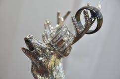 Γαμήλια δαχτυλίδια στα ασημένια ελαφόκερες αλκών Στοκ εικόνες με δικαίωμα ελεύθερης χρήσης