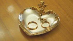 Γαμήλια δαχτυλίδια στο πιατάκι σε μια αίθουσα εγγραφής απόθεμα βίντεο