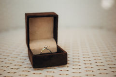 Γαμήλια δαχτυλίδια των newlyweds σε ένα κιβώτιο Χρυσά δαχτυλίδια δέσμευσης Στοκ Φωτογραφίες