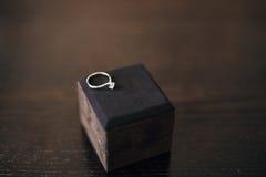 Γαμήλια δαχτυλίδια των newlyweds σε ένα κιβώτιο Χρυσά δαχτυλίδια δέσμευσης Στοκ φωτογραφίες με δικαίωμα ελεύθερης χρήσης