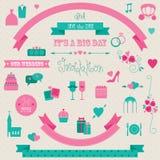 Γαμήλια εικονίδια και εμβλήματα Στοκ Εικόνα