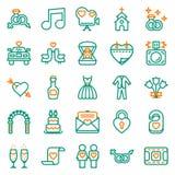 Γαμήλια εικονίδια που τίθενται στο άσπρο υπόβαθρο Στοκ εικόνα με δικαίωμα ελεύθερης χρήσης
