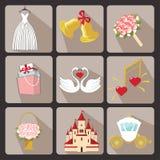 Γαμήλια εικονίδια σχεδίου για τον Ιστό και το διάνυσμα Mobile.Retro Στοκ εικόνες με δικαίωμα ελεύθερης χρήσης