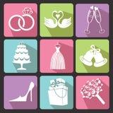 Γαμήλια επίπεδα εικονίδια για τον Ιστό και κινητός διάνυσμα Στοκ Εικόνες