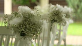 Γαμήλια διακόσμηση στις καρέκλες απόθεμα βίντεο