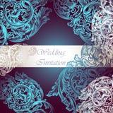 Γαμήλια διανυσματική πρόσκληση με τη διακόσμηση στροβίλου Στοκ Εικόνες