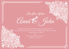 Γαμήλια κάρτα - αφηρημένος άσπρος αυξήθηκε floral πλαίσιο στο ρόδινο σχέδιο προτύπων υποβάθρου διανυσματικό Στοκ φωτογραφία με δικαίωμα ελεύθερης χρήσης