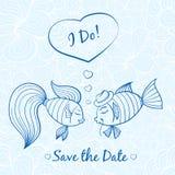 Γαμήλια κάρτα με τα χαριτωμένα ψάρια Στοκ εικόνα με δικαίωμα ελεύθερης χρήσης