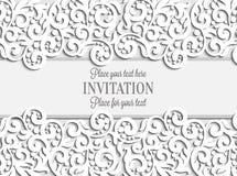 Γαμήλια κάρτα με το πλαίσιο δαντελλών εγγράφου, δαντελλωτός doily Στοκ Εικόνες