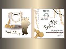 Γαμήλια καθορισμένη κάρτα, γαμήλια πρόσκληση Στοκ φωτογραφία με δικαίωμα ελεύθερης χρήσης