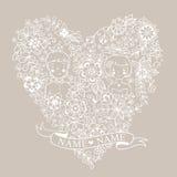 Γαμήλια καρδιά με τα λουλούδια και τα πουλιά Στοκ Εικόνες