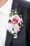 Γαμήλια μπουτονιέρα στο γαμήλιο κοστούμι μαύρων πέτου του Στοκ Φωτογραφία