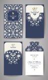 Γαμήλια πρόσκληση ή ευχετήρια κάρτα με τη χρυσή floral διακόσμηση Φάκελος γαμήλιας πρόσκλησης για την κοπή λέιζερ Στοκ φωτογραφίες με δικαίωμα ελεύθερης χρήσης