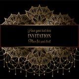 Γαμήλια πρόσκληση ή κάρτα, περίπλοκο mandala με το υπόβαθρο χαντρών Στοκ Εικόνα