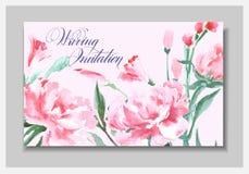 Γαμήλια πρόσκληση με ένα watercolor peonies Η χρήση καρτών για το πέρασμα τροφής, προσκλήσεις, ευχαριστεί εσείς λαναρίζει διάνυσμ διανυσματική απεικόνιση