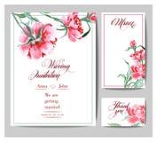 Γαμήλια πρόσκληση με ένα watercolor peonies Η χρήση καρτών για το πέρασμα τροφής, προσκλήσεις, ευχαριστεί εσείς λαναρίζει διάνυσμ απεικόνιση αποθεμάτων