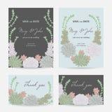 Γαμήλια πρόσκληση με τα succulents Εκτός από τις κάρτες ημερομηνίας με τα διακοσμητικά floral στοιχεία σχεδίου συλλογής Στοκ Φωτογραφίες