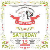 Γαμήλια πρόσκληση με την τυποποιημένη καρδιά και το floral πλαίσιο Στοκ φωτογραφία με δικαίωμα ελεύθερης χρήσης