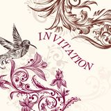 Γαμήλια πρόσκληση με το πουλί και τους στροβίλους Στοκ εικόνες με δικαίωμα ελεύθερης χρήσης