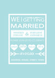 Γαμήλια πρόσκληση στο αναδρομικό ύφος αφισών στο μπλε Στοκ φωτογραφία με δικαίωμα ελεύθερης χρήσης