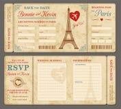 Γαμήλια πρόσκληση του Παρισιού Στοκ Εικόνες