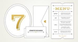 Γαμήλια πρόσκληση PT 3 πρότυπο - επιλογές, επιτραπέζιος αριθμός, κάρτες θέσεων ονόματος (με τις χρησιμοποιημένες πηγές που απαριθ Στοκ φωτογραφίες με δικαίωμα ελεύθερης χρήσης