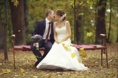 Γαμήλια φωτογραφία της νύφης και του νεόνυμφου Στοκ Φωτογραφίες