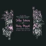 Γαμήλια floral ευχετήρια κάρτα, πρόσκληση Στοκ εικόνες με δικαίωμα ελεύθερης χρήσης