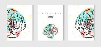 Γαμήλιες κάρτες που τίθενται με μια επίπεδη διανυσματική απεικόνιση σχεδίου κάκτων Στοκ Εικόνα