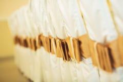 Γαμήλιες καρέκλες στη σειρά που διακοσμείται με τη χρυσή κορδέλλα χρώματος Στοκ φωτογραφία με δικαίωμα ελεύθερης χρήσης
