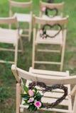 Γαμήλιες καρέκλες υποδοχής Στοκ εικόνα με δικαίωμα ελεύθερης χρήσης