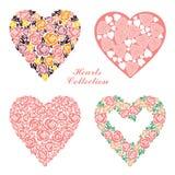 Γαμήλιες floral καρδιές καθορισμένες Στοιχεία σχεδίου για τη διακόσμηση γαμήλιων καρτών Στοκ Εικόνα