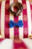 Γαμήλιοι δαχτυλίδια και τόξο-δεσμός Στοκ Εικόνες