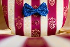 Γαμήλιοι δαχτυλίδια και τόξο-δεσμός Στοκ φωτογραφίες με δικαίωμα ελεύθερης χρήσης