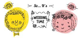 Γαμήλιοι doodle διανυσματικοί νύφη και νεόνυμφος Διανυσματική απεικόνιση