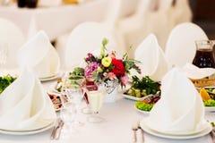 Γαμήλιος πίνακας που θέτει, δίκρανο πιάτων Στοκ εικόνα με δικαίωμα ελεύθερης χρήσης