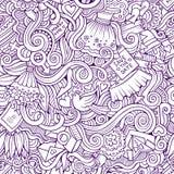 Γαμήλιο άνευ ραφής σχέδιο κινούμενων σχεδίων doodles Στοκ Εικόνες