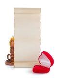 Γαμήλιο δαχτυλίδι και ηλικίας έγγραφο για το λευκό Στοκ εικόνα με δικαίωμα ελεύθερης χρήσης