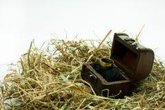 Γαμήλιο δαχτυλίδι στο ξύλινο στήθος Στοκ εικόνα με δικαίωμα ελεύθερης χρήσης