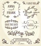 Γαμήλιο γραφικό σύνολο: πλαίσια, κορδέλλες, ετικέτες και λουλούδια Στοκ Εικόνες