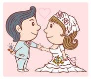 Γαμήλιο ζευγάρι ακριβώς παντρεμένο διανυσματική απεικόνιση